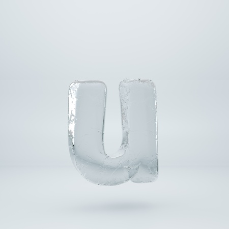 Ice letter U lowercase. 3D render ice font with cracks isolated on white background Banco de Imagens