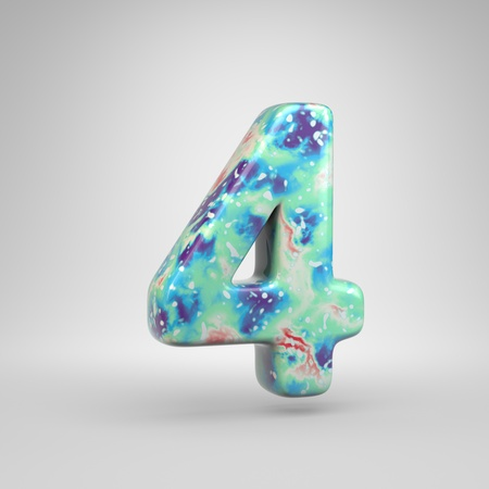 Bluish acrylic pouring number 4. 3d render cold color font isolated on white background Foto de archivo