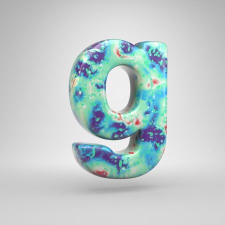 Bluish acrylic pouring letter G lowercase. 3d render cold color font isolated on white background Stockfoto