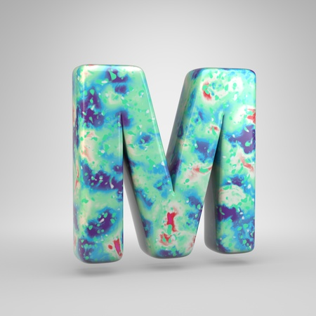 Bluish acrylic pouring letter M uppercase. 3d render cold color font isolated on white background