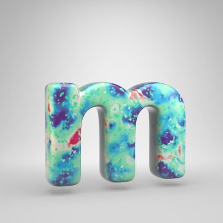 Bluish acrylic pouring letter M lowercase. 3d render cold color font isolated on white background