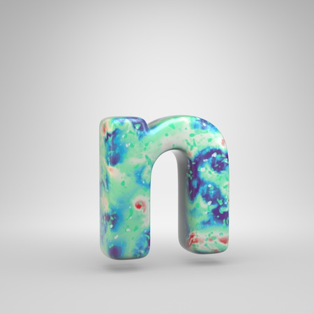 Bluish acrylic pouring letter N lowercase. 3d render cold color font isolated on white background