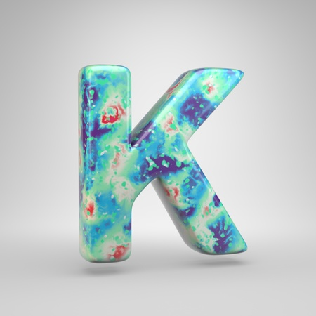 Bluish acrylic pouring letter K uppercase. 3d render cold color font isolated on white background 스톡 콘텐츠