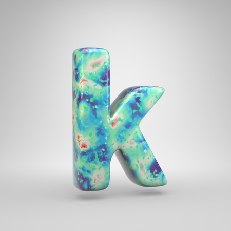 Bluish acrylic pouring letter K lowercase. 3d render cold color font isolated on white background