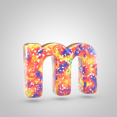 Bright acrylic pouring letter M lowercase. 3d render colorful font isolated on white background