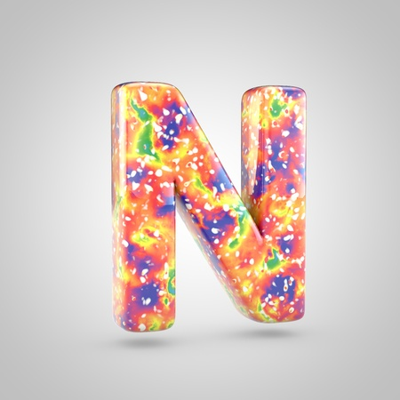 Bright acrylic pouring letter N uppercase. 3d render colorful font isolated on white background