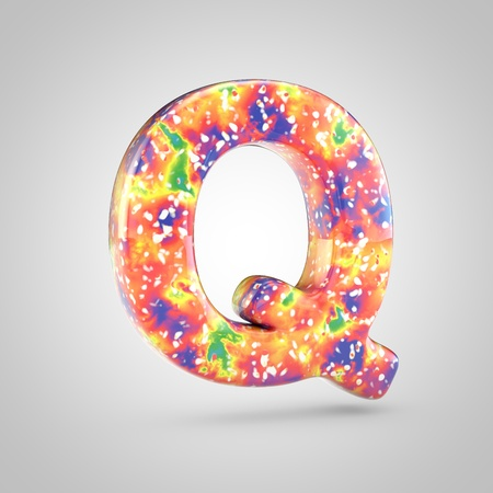Bright acrylic pouring letter Q uppercase. 3d render colorful font isolated on white background 스톡 콘텐츠