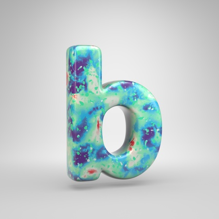 Bluish acrylic pouring letter B lowercase. 3d render cold color font isolated on white background Foto de archivo