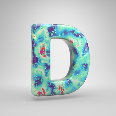 Bluish acrylic pouring letter D uppercase. 3d render cold color font isolated on white background 스톡 콘텐츠