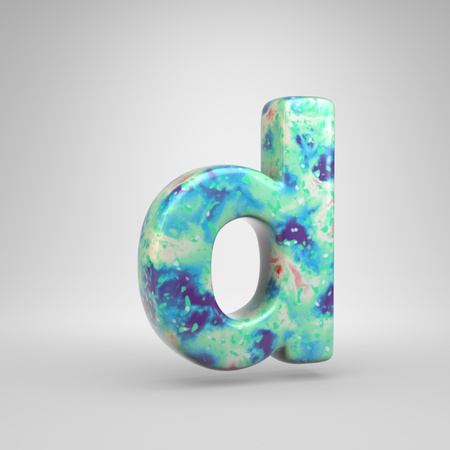 Bluish acrylic pouring letter D lowercase. 3d render cold color font isolated on white background