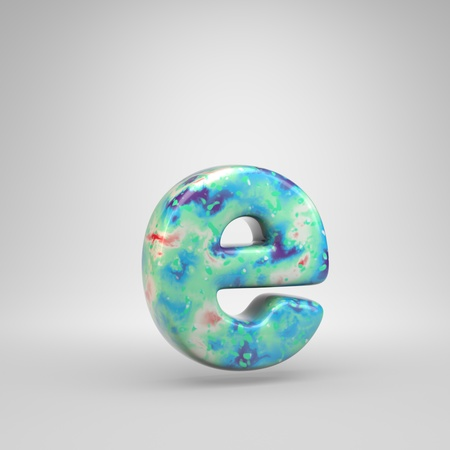 Bluish acrylic pouring letter E lowercase. 3d render cold color font isolated on white background