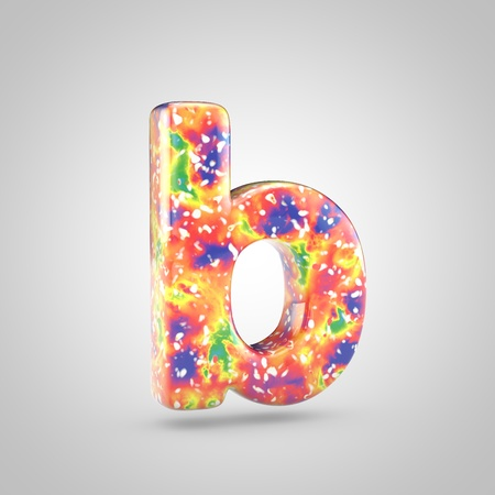 Bright acrylic pouring letter B lowercase. 3d render colorful font isolated on white background