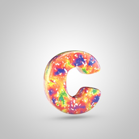 Bright acrylic pouring letter C lowercase. 3d render colorful font isolated on white background