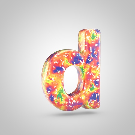Bright acrylic pouring letter D lowercase. 3d render colorful font isolated on white background