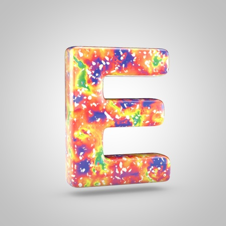 Bright acrylic pouring letter E uppercase. 3d render colorful font isolated on white background
