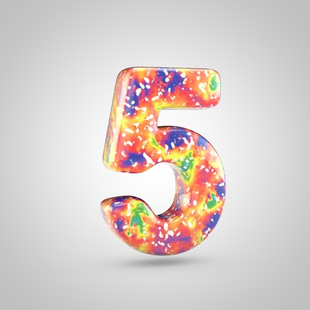Bright acrylic pouring number 5. 3d render colorful font isolated on white background