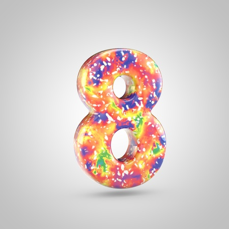 Bright acrylic pouring number 8. 3d render colorful font isolated on white background