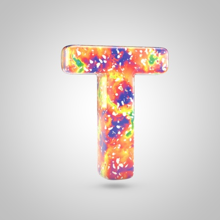 Bright acrylic pouring letter T uppercase. 3d render colorful font isolated on white background 스톡 콘텐츠