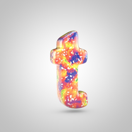 Bright acrylic pouring letter T lowercase. 3d render colorful font isolated on white background