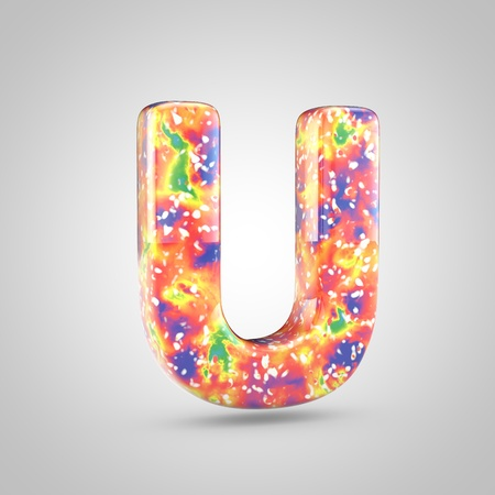 Bright acrylic pouring letter U uppercase. 3d render colorful font isolated on white background