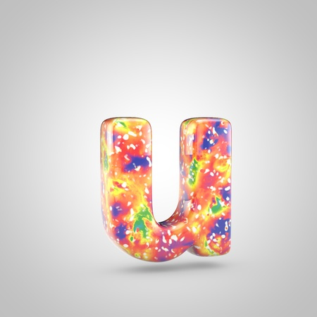 Bright acrylic pouring letter U lowercase. 3d render colorful font isolated on white background 스톡 콘텐츠