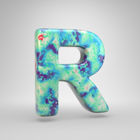 Bluish acrylic pouring letter R uppercase. 3d render cold color font isolated on white background 스톡 콘텐츠