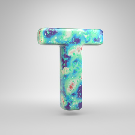 Bluish acrylic pouring letter T uppercase. 3d render cold color font isolated on white background Stockfoto
