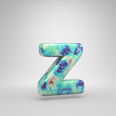 Bluish acrylic pouring letter Z lowercase. 3d render cold color font isolated on white background