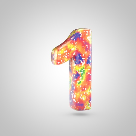 Bright acrylic pouring number 1. 3d render colorful font isolated on white background 스톡 콘텐츠