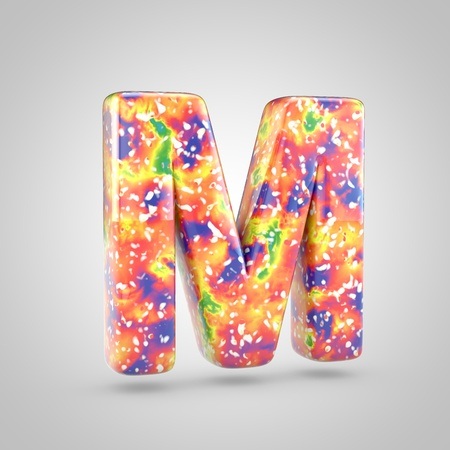 Bright acrylic pouring letter M uppercase. 3d render colorful font isolated on white background