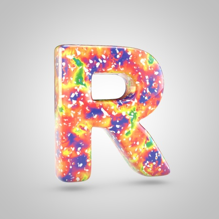 Bright acrylic pouring letter R uppercase. 3d render colorful font isolated on white background