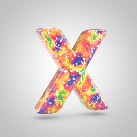 Bright acrylic pouring letter X uppercase. 3d render colorful font isolated on white background