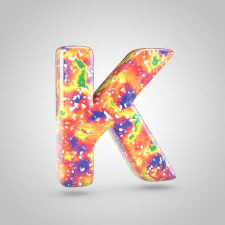 Bright acrylic pouring letter K uppercase. 3d render colorful font isolated on white background 스톡 콘텐츠
