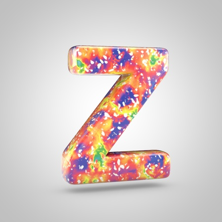 Bright acrylic pouring letter Z uppercase. 3d render colorful font isolated on white background 스톡 콘텐츠