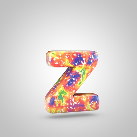 Bright acrylic pouring letter Z lowercase. 3d render colorful font isolated on white background Stockfoto