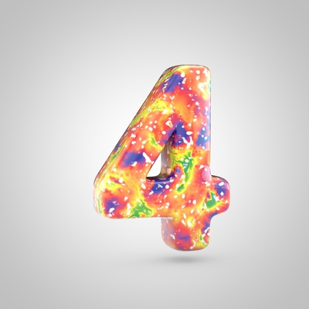 Bright acrylic pouring number 4. 3d render colorful font isolated on white background
