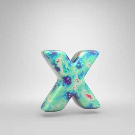 Bluish acrylic pouring letter X lowercase. 3d render cold color font isolated on white background