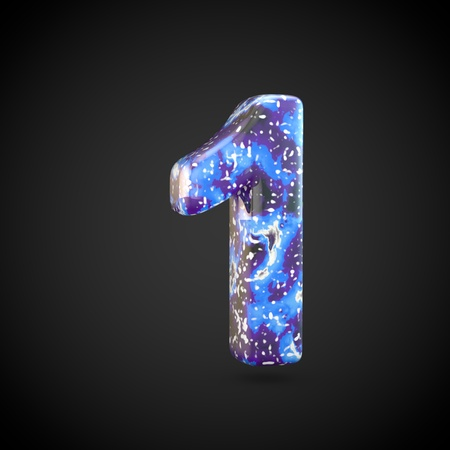 Acrylic pouring number 1. 3d render font isolated on black background 스톡 콘텐츠