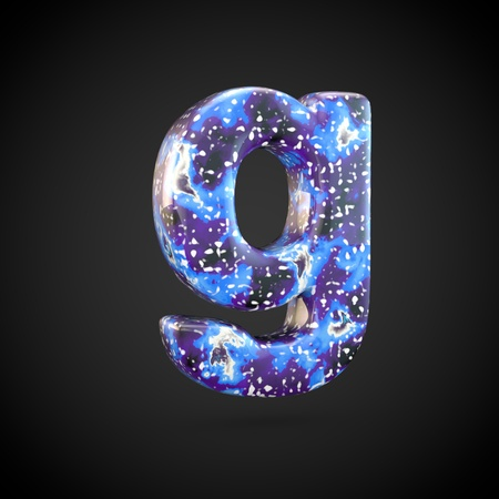Acrylic pouring letter G lowercase. 3d render font isolated on black background
