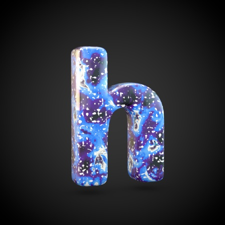 Acrylic pouring letter H lowercase. 3d render font isolated on black background 스톡 콘텐츠