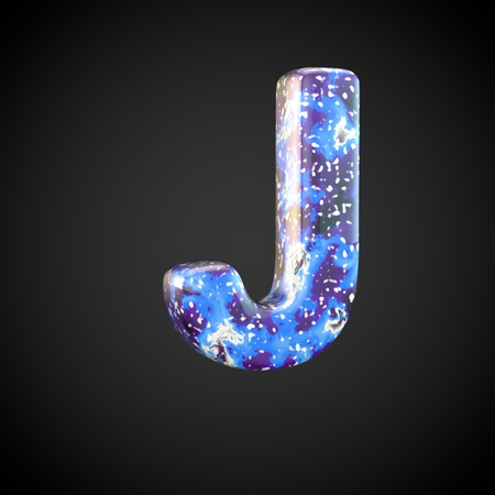 Acrylic pouring letter J uppercase. 3d render font isolated on black background