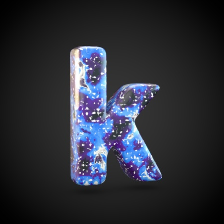 Acrylic pouring letter K lowercase. 3d render font isolated on black background 스톡 콘텐츠