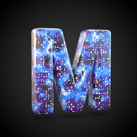 Acrylic pouring letter M uppercase. 3d render font isolated on black background 스톡 콘텐츠