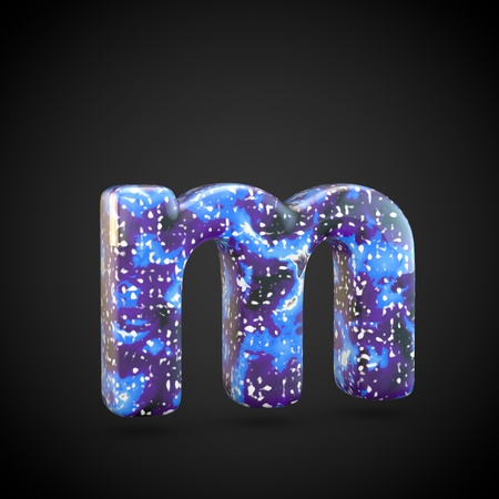 Acrylic pouring letter M lowercase. 3d render font isolated on black background