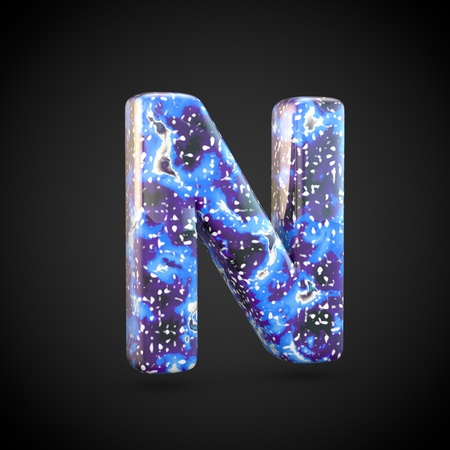 Acrylic pouring letter N uppercase. 3d render font isolated on black background