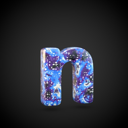 Acrylic pouring letter N lowercase. 3d render font isolated on black background