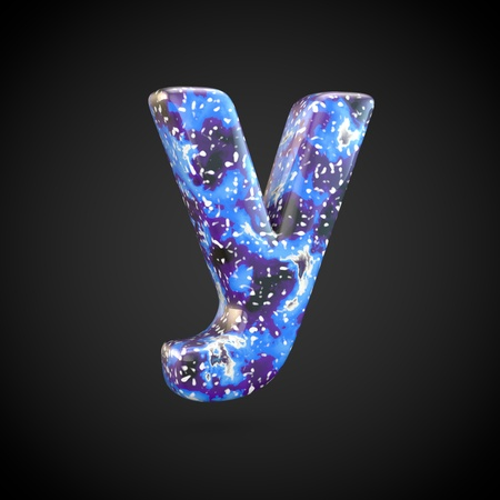 Acrylic pouring letter Y lowercase. 3d render font isolated on black background