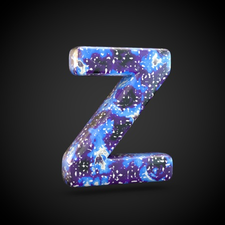 Acrylic pouring letter Z uppercase. 3d render font isolated on black background