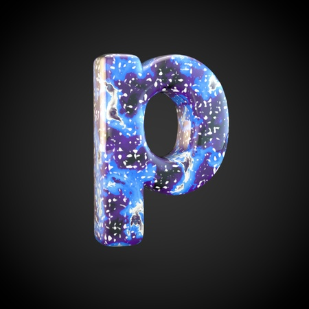 Acrylic pouring letter P lowercase. 3d render font isolated on black background