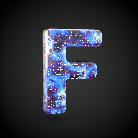 Acrylic pouring letter F uppercase. 3d render font isolated on black background 스톡 콘텐츠